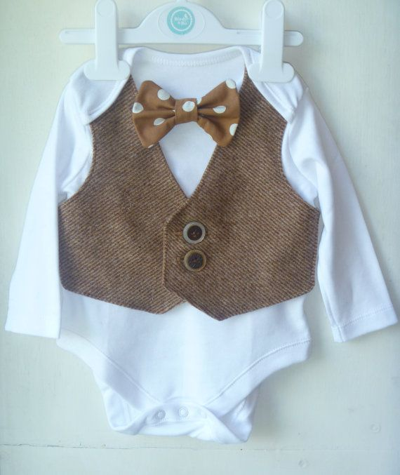Baby Boy vintage tweed waistcoat onsie 3 to 6 months, baby occasion wear, christening outfit, Baby wedding outfit. Baby bow tie, uk