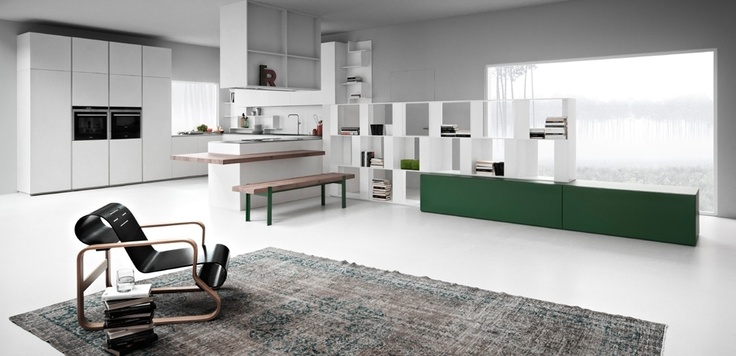 Zampieri - Line K kitchen in ice cement resin and white laquer.