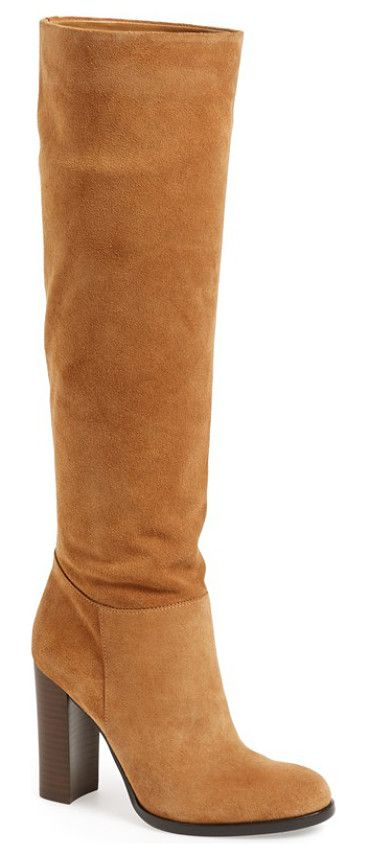victoria slouch boot by Sam Edelman. A tall, stacked heel brings a fresh, contemporary look to a lush suede boot in a classic knee-high silhouette. Wear i...