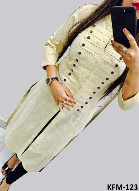 Buy Cotton Cream Plain Designer Kurti