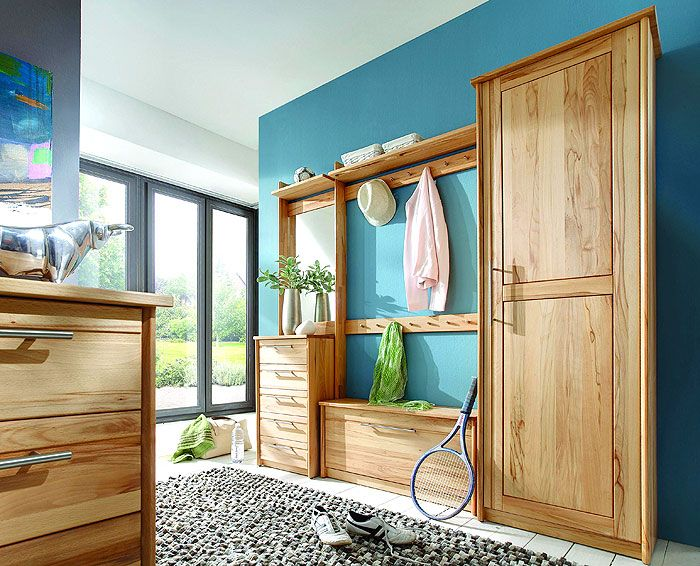 Massivholzm bel kernbuche ge lt flurm bel garderobe for Garderobe naturholz