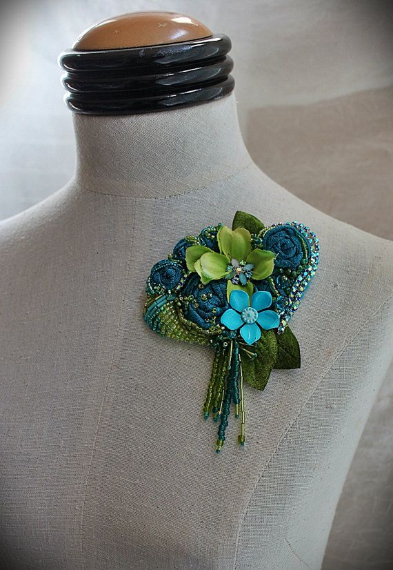 BLUE BLOSSOM Mixed Media Beaded Textile Brooch by carlafoxdesign