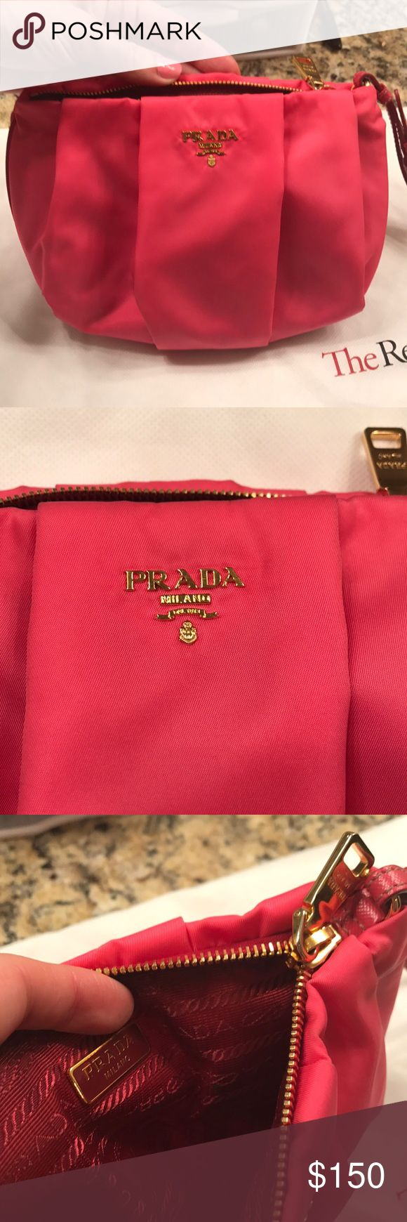 Prada Tessuto Nylon Wristlet Peonia bow Wristlet. Zipper closure. Saffiano zipper piping and wrist strap Prada Bags Clutches & Wristlets