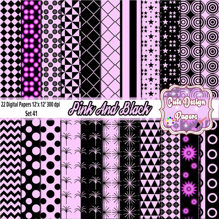 Papeles Digitales Rosa y Negro 12 x 12 - Digital Scrapbook - diseño de tarjetas, invitaciones, Fondo, web desing, impresiones de CuteDesignPapers en Etsy