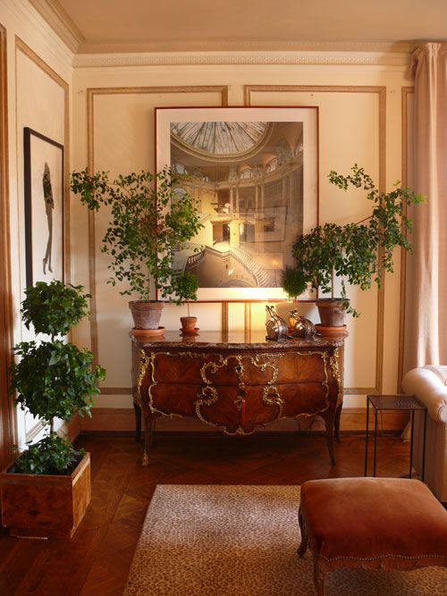 Foyer hall brown decor traditional transitional chest of for Traditional foyer decorating ideas
