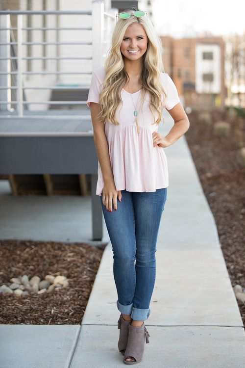 Give It A Whirl Peplum Blouse Blush - The Pink Lily