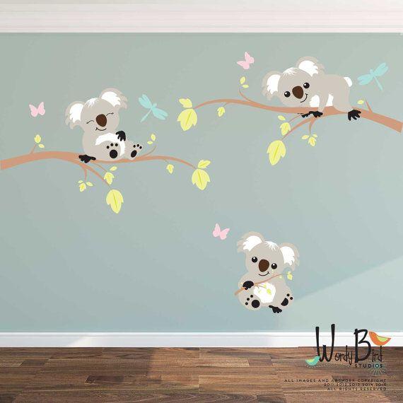 Koala lleva y ramas reutilizable cáscara y palillo niños