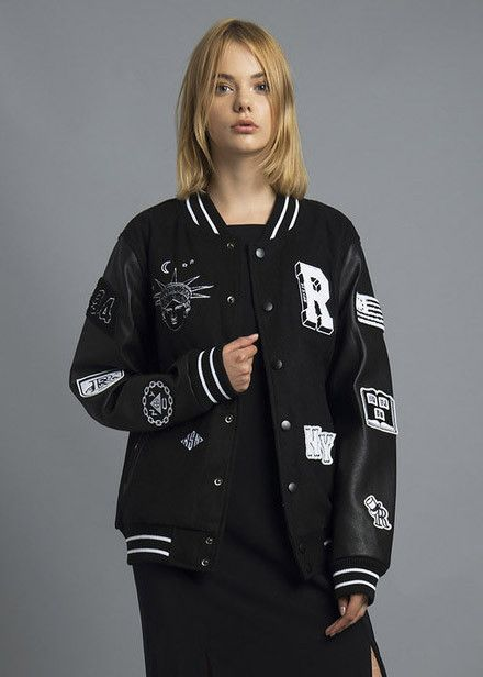 Help beat the cold with this varsity jacket that is oh-so-hot right now! Team it with ripped skinny jeans and a beanie for the ultimate collegiate-gone-bad wint