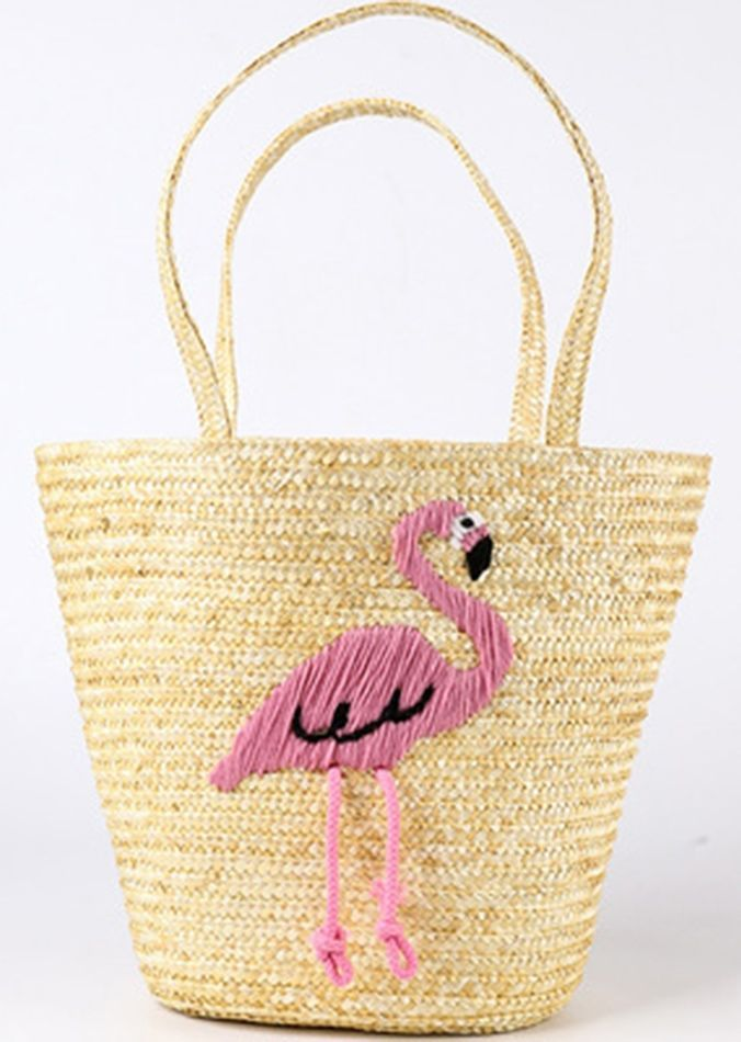 Women s Embroidered Flamingo Design Straw Bag  262ef92fb1