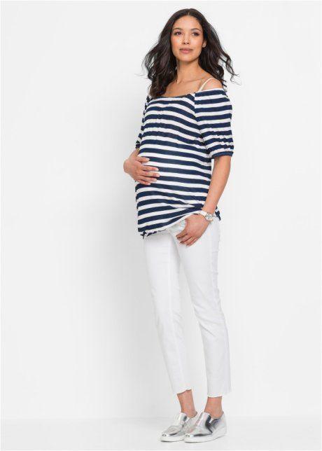 Těhotenské triko s Carmen výstřihem, bpc bonprix collection, tmavě modro-přírodní bílá s proužky