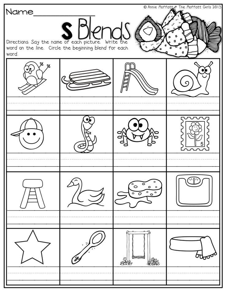 Printables S Blends Worksheet 1000 images about s blends on pinterest initials activities blends