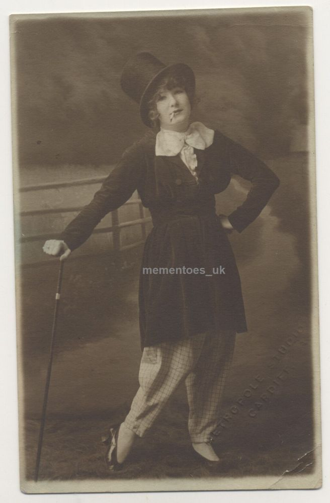 Sartorial freedom Dance Lady  Smoking mens clothes 1920 Cardiff Wales Postcard