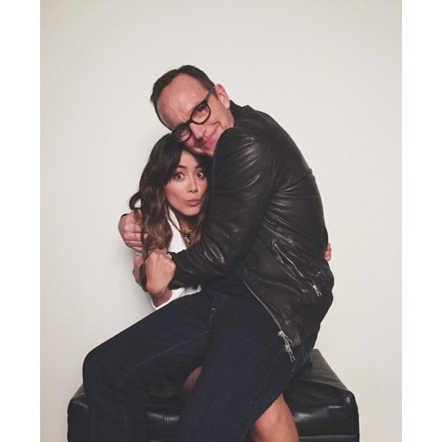 Everything about this is perfect. || Chloe Bennet, Clark Gregg || Instagram || #cast
