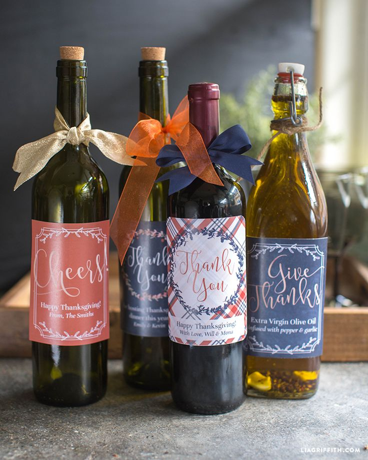 Free Printable: Thanksgiving wine gift labels