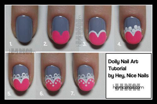 CUTE!Nails Art Tutorials, Heart Nails, Nails Design, Nailart, Lace Nails, Nail Tutorials, Doilies Nails, Nail Art, Nails Tutorials
