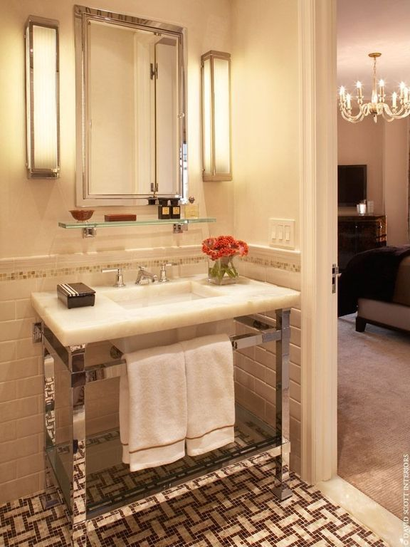 Art Deco Powder Room with Ann sacks capriccio field tile - white gloss, Restoration hardware hudson washstand, Wall sconce