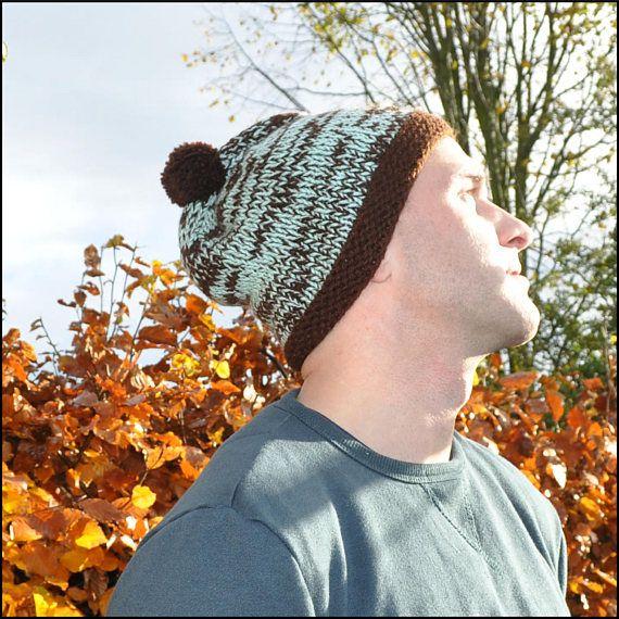 Hand Knitted Pom Pom Hat Bobble Hat Hat for Him Hat for #PomPomHat #Knittedhat #BobbleHat