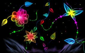 Glow In The Dark Art Neon WallpaperFlower