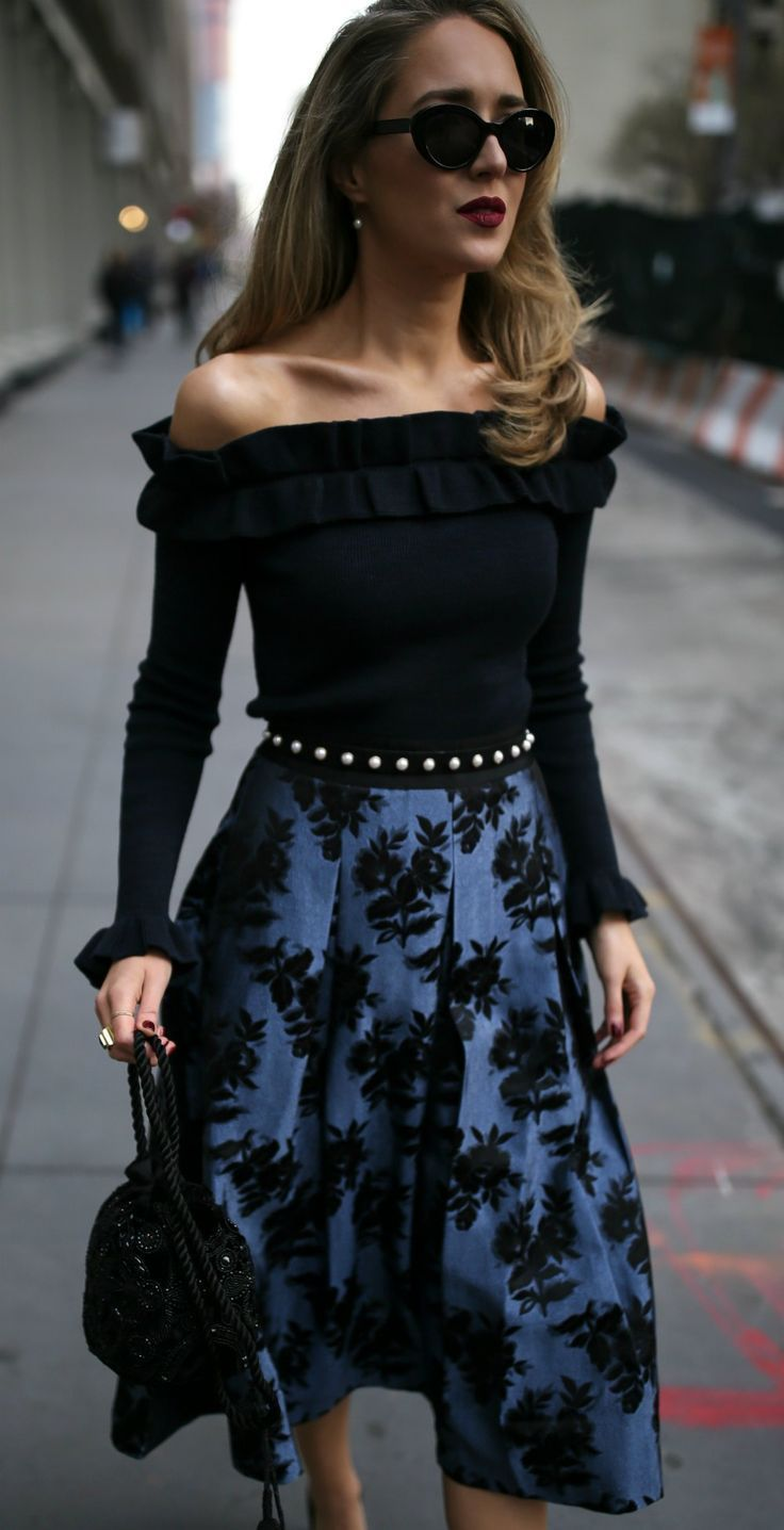 12 Perfect Holiday Skirts UNDER $150! // Black off-the-shoulder long-sleeve ruffle sweater, blue and black floral jacquard pleated midi skirt, black suede leather pearl embellished belt, black beaded bucket bag, black pointy toe patent leather pumps, blac