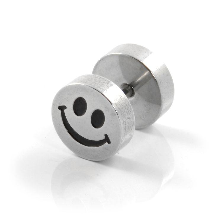 8mm Smiley Stud Ørering - 89,00 kr
