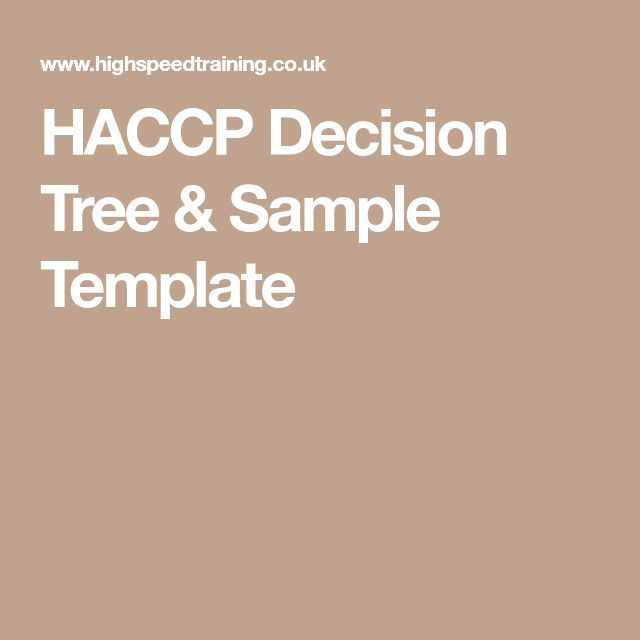 HACCP Decision Tree & Sample Template