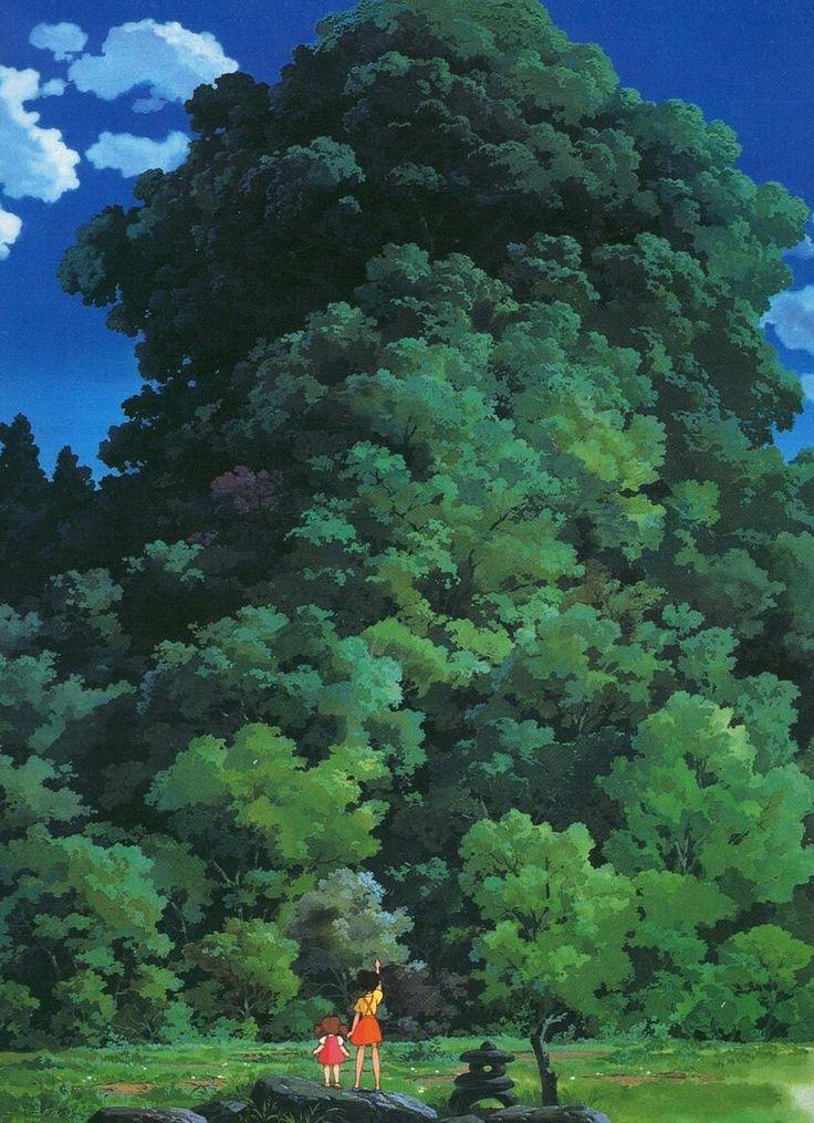 Mei and Satsuki view a Camphor tree in 'My Neighbor Totoro' - Hayao Miyazaki - Studio Ghibli