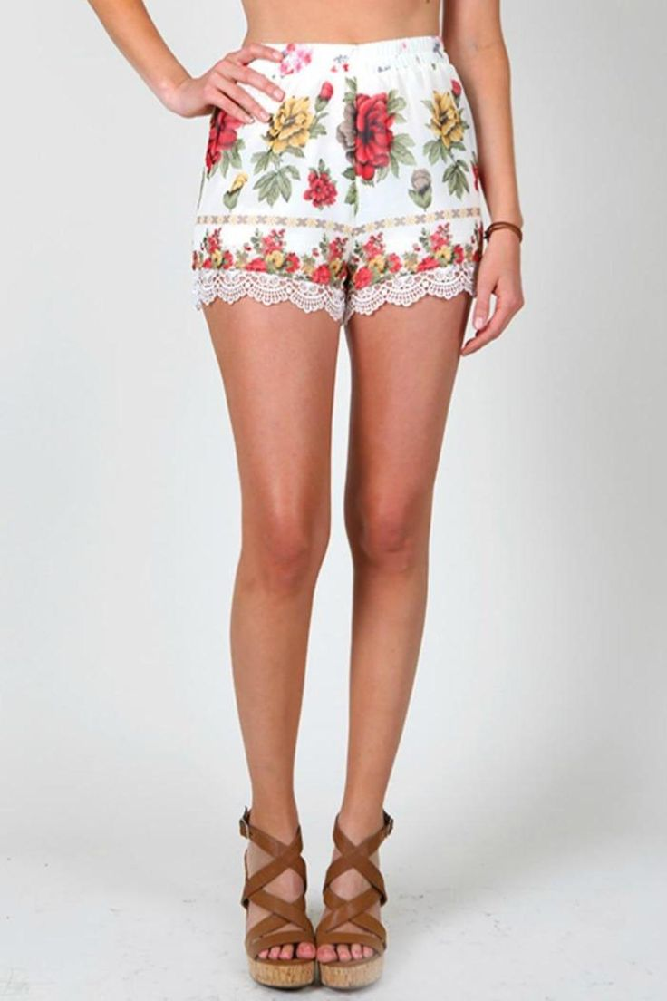 Sheer floral material, fully lined; lightweight. Decorative bottom.   Floral Shorts by My Beloved. Clothing - Shorts - Printed Georgia