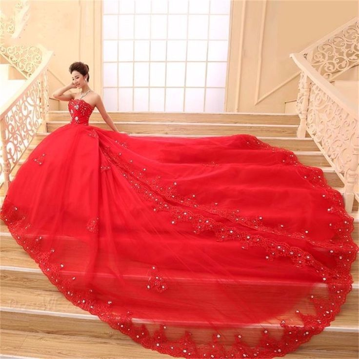 >> Click to Buy << Red Wedding Dresses Long 2016 Sweetheart Sequin Crystal A Line Long Train Bridal Dress Wedding Gowns Customed Vestido De Noiva #Affiliate