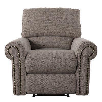 Wayfair Custom Upholstery™ Cory Rocking Recliner Body Fabric: Marvel Stone, Nailhead Finish: Pewter