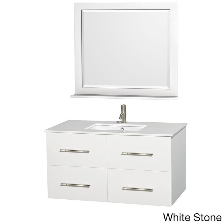 Image Gallery For Website Wyndham Centra inch White Bathroom Vanity with Mirror White White Stone