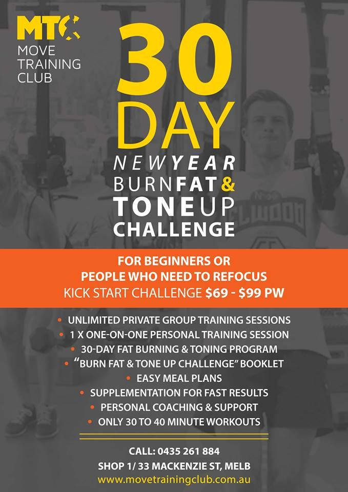 30 day - BURN FAT & TONE UP challenge coming soon! call us today !
