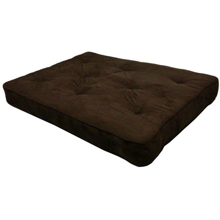 8-inch Thick Full Size Premium Coil Futon Mattress with Chocolate Futon Cover
