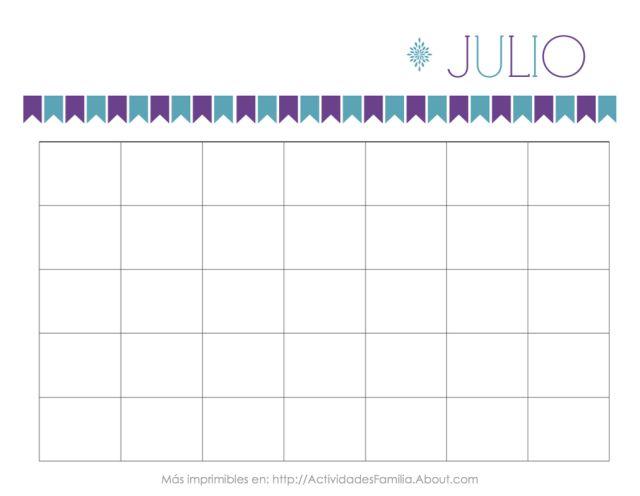 Calendarios Personalizables: Calendario de Julio