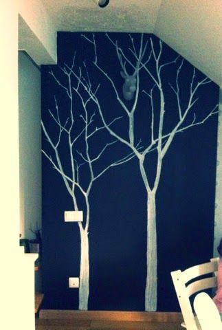 Una pared con pintura de pizarra. Arboles en tiza líquida.