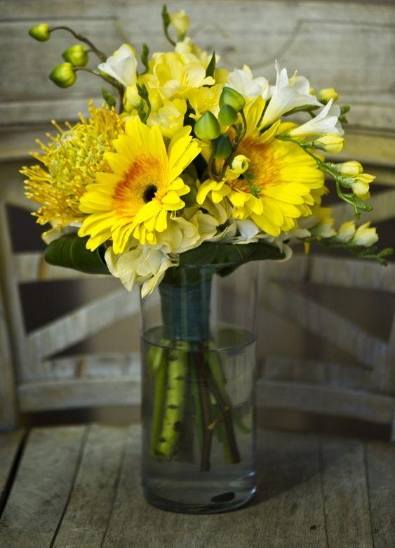 Yellow summer bridesmaid bouquet pink summer spring winter for Yellow flower arrangements centerpieces