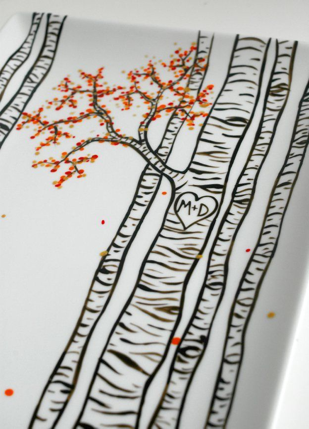 I absolutely love the simplicity of birch trees! Birch Trees Hand Painted Personalized Platter by MaryElizabethArts.com $68 #PotteryPainting