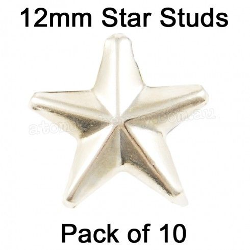 12mm Star Studs - Silver (Pack of 10) $5