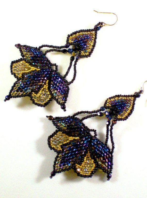 Middernacht magische Art Nouveau gouden kroonluchter door Beadmatrix