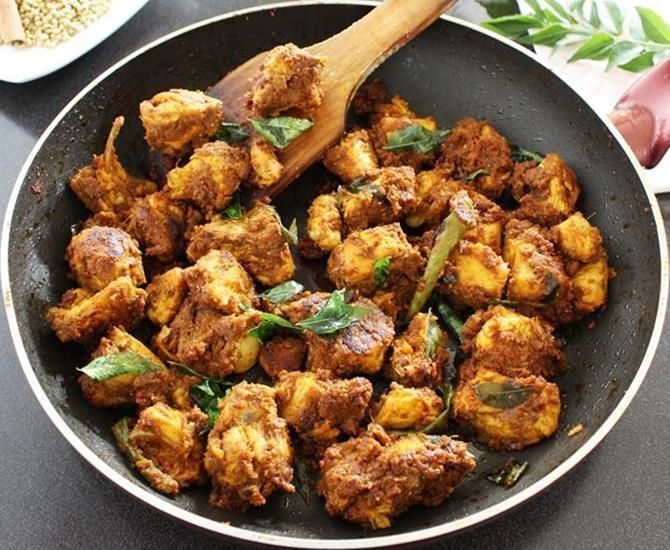 chicken roast made in south Indian style. Learn to make soft chicken dry roast with step by step photos using basic ingredients in the kitchen.