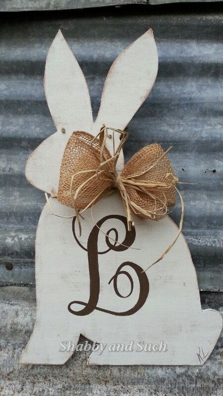 Beautiful primitive rabbit silhouette...distressed and personalized with initial(painted) of your choice! This hand painted bunny is approx.