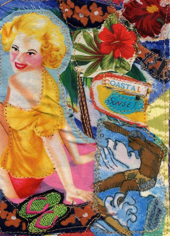 Coastal Sunset BEACH Girl Original Fabric COLLAGE mybonny
