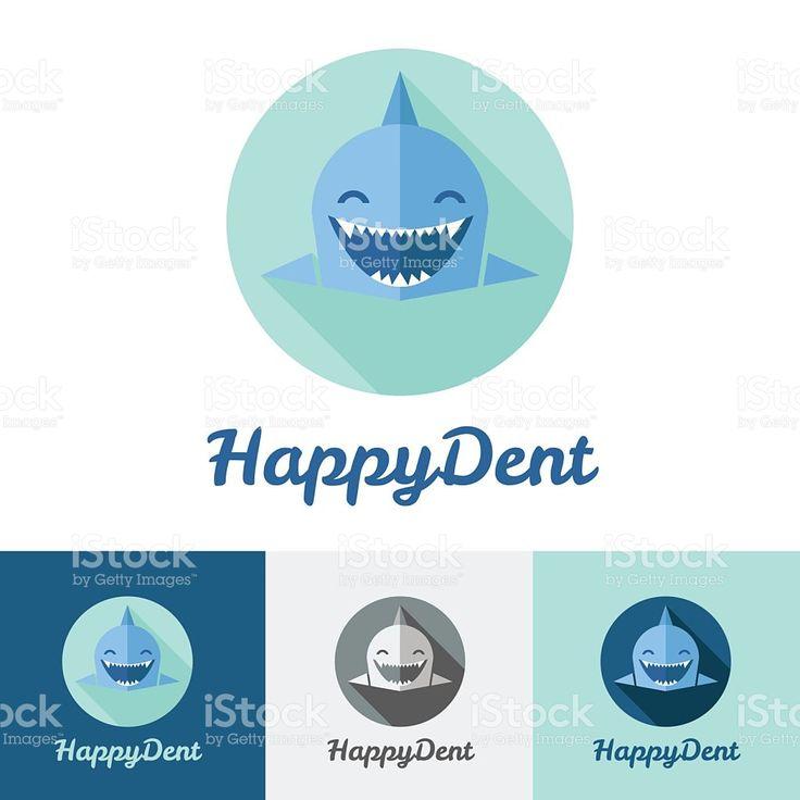 Vector modern flat shark logo set for dental center royalty-free stock vector art