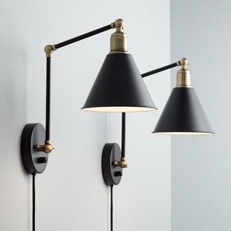 Sayner black and antique brass swing arm wall lamp set of 2 100 lamps plus