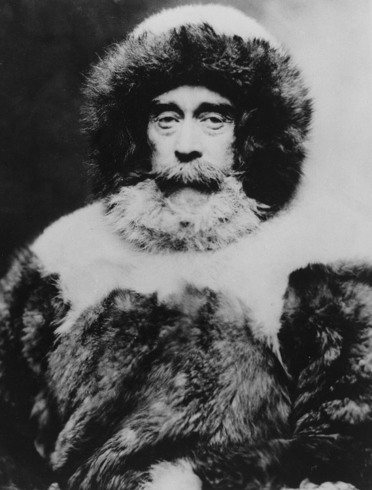 Rear Admiral Robert E. Peary dressed in the fur clothing he wore for the Arctic expedition, September 1938. Photograph by Robert E. Peary, National Geographic
