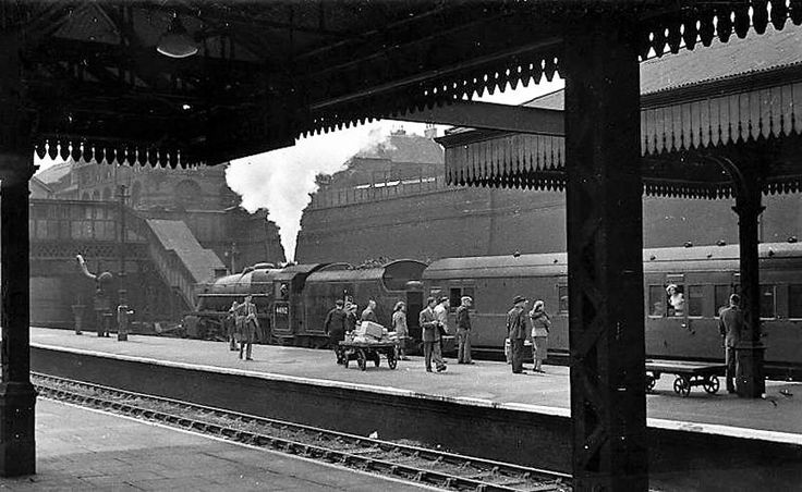 Newcastle to Bournemouth train at Nottingham Victoria Station, June 1954.