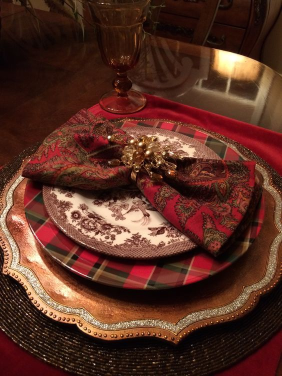 Christmas Dinner Place setting Tablescape Tartan Plaid, Chocolate Brown, Gold, Silver, Paisley, Birds