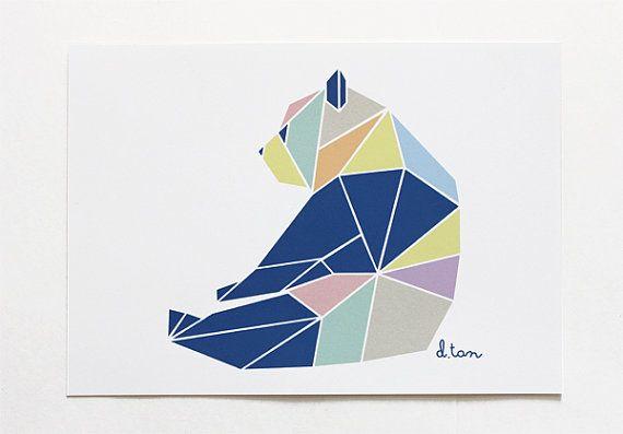5 x 7 Geometric Panda Art Print by deedeetantan on Etsy, $8.00