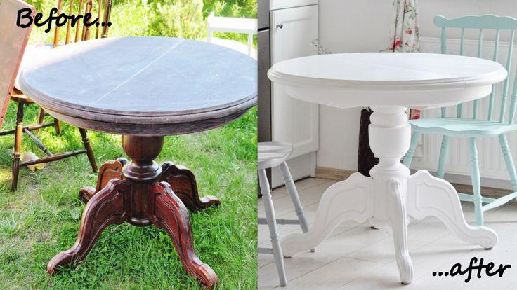 metamorfoza stołu biały okrągły stół, jadalnia, szare krzesło, mietowe krzesło, mint, grey, white home, table, white table