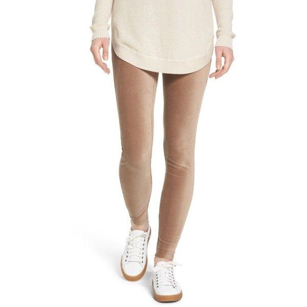 Women's Lysse Corduroy Leggings ($88) ❤ liked on Polyvore featuring pants, leggings, sesame, high waisted white pants, high waisted pants, high rise leggings, white high waisted leggings and high waisted shiny leggings