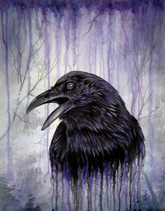 Acrylic painting raven 39 s call original 14 x 18 by for Call for mural artists 2014
